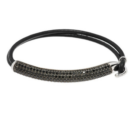"""As Is"" 4.50 ct tw Black Spinel Pave' Sterling Bar & Leather Bracelet"