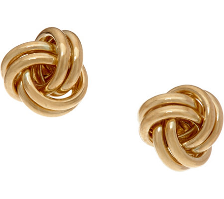 14K Gold Polished Love Knot Stud Earrings
