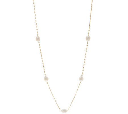 "14K Gold 24"" 8.0mm Cultured Pearl Station Necklace"
