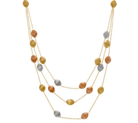 Arte d'Oro Tri-color Satin Bead Necklace 18K Gold, 21.0g