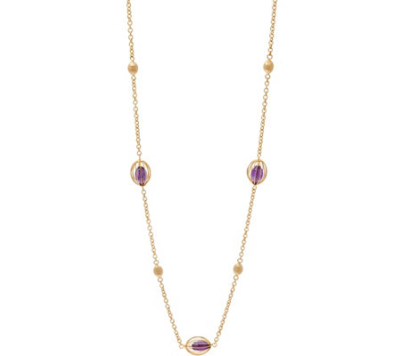 "Arte d' Oro 32"" Caged Gemstone Bead Necklace, 18K Gold"