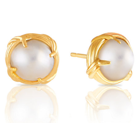 Peter Thomas Roth 18K Gold and Mabe Pearl Button Earrings