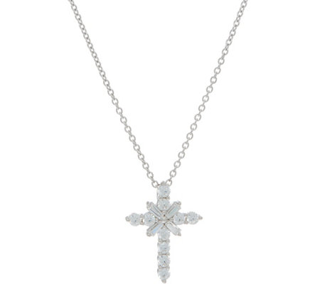 Diamonique Cross Pendant with Chain, Sterling