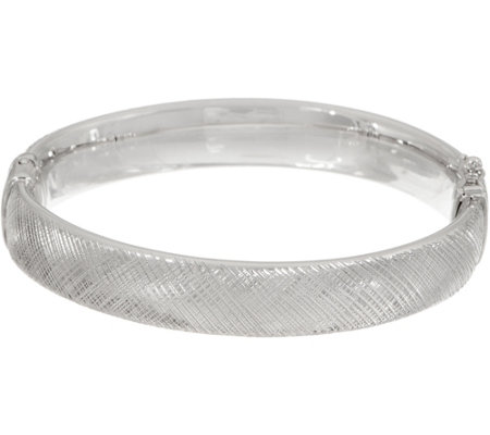 Italian Silver Diamond Cut Oval Hinged Bangle, 15.8g