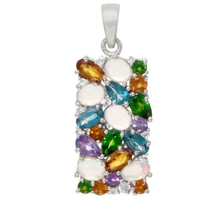 Colorful Mixed Gemstone Statement Pendant, Sterling Silver