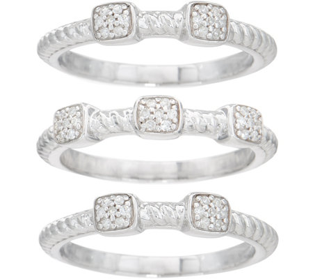 """As Is"" Set of 3 Diamond Rope Design Stack Rings, 1/5cttw Sterling"