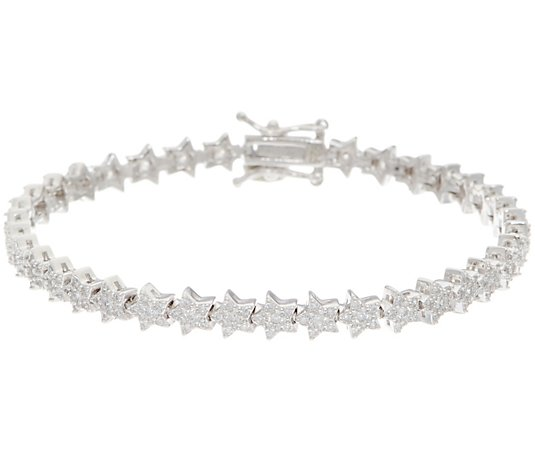 Diamonique Pave Star Tennis Bracelet Sterling Silver