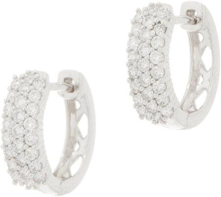 Affinity Diamond 14k Gold Huggie Hoop Earrings 1 2 Cttw Qvc