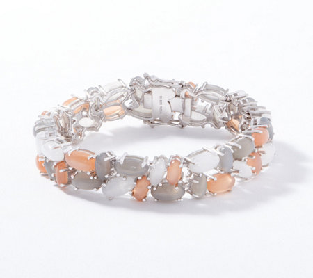 Multi-Color Moonstone Bracelet, Sterling Silver