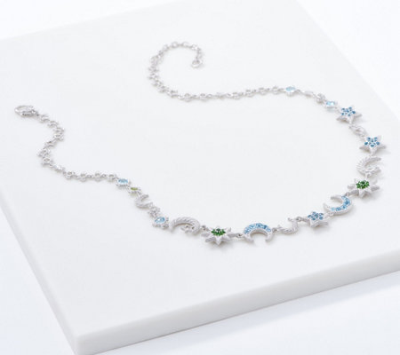 Judith Ripka Sterling Silver Celestial Gemstone Necklace