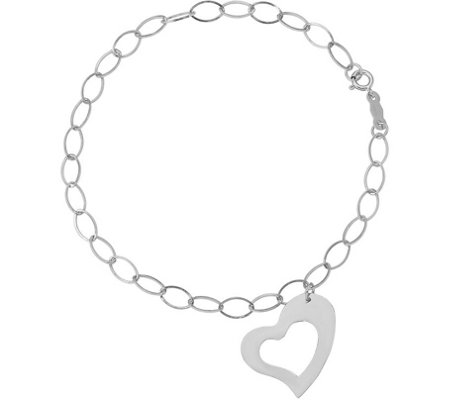 14K White Gold Oval Link with Heart Dangle  Bracelet, 1.0g