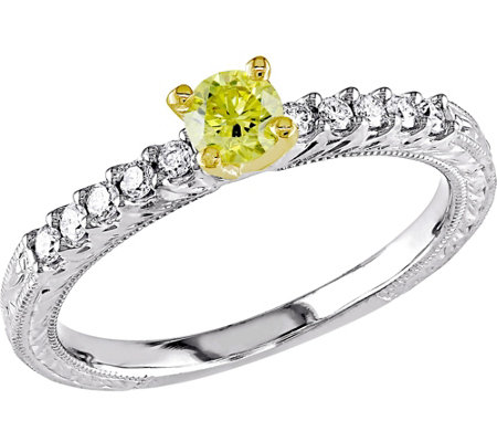 Yellow Diamond Engagement Ring, 14K, 1/2 cttw,by Affinity
