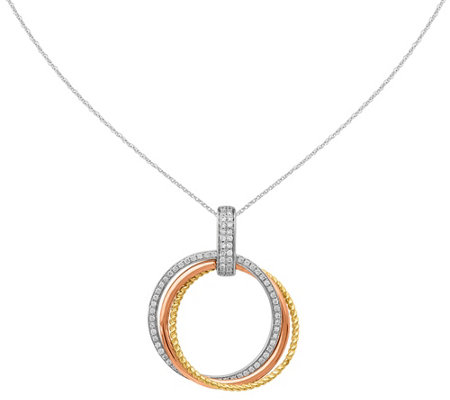 Tri-color Diamond Circle Pendant, 14K, 1/7 cttw, by Affinity