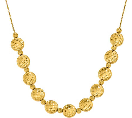 "14K Disc & Beaded 17"" Necklace, 10.5g"