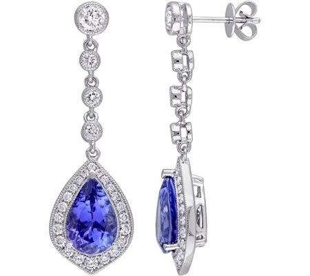 5 20 Cttw Tanzanite 1 1 2 Cttw Diamond Dangleearrings 14k