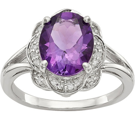 Sterling Oval Gemstone Diamond Ring