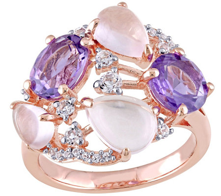 Sterling 5.10 cttw Multi-gemstone Cocktail Ring