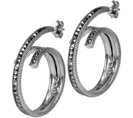 Suspicion Sterling Marcasite Swirl Earrings