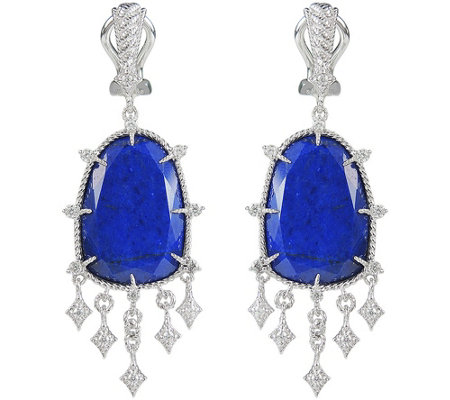 Judith Ripka Sterling Lapis & Diamonique DangleEarrings