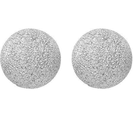 Italian Silver Textured Ball Post Earrings