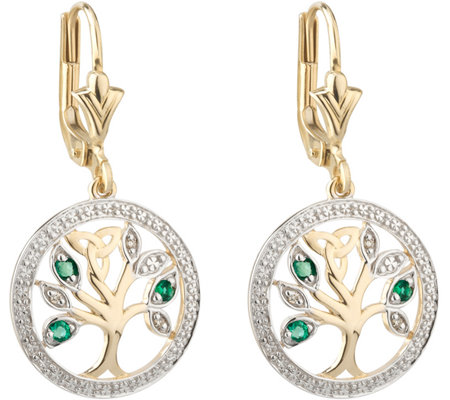 Solvar 14K Diamond & Emerald Accent Tree of Life Drop Earring