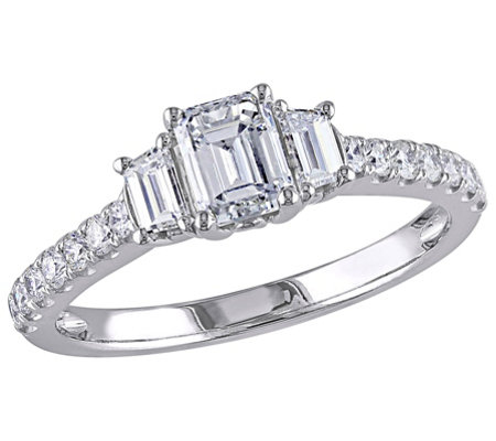 Affinity 14K Gold 1.25 cttw Emerald-Cut Diamond3-Stone Ring