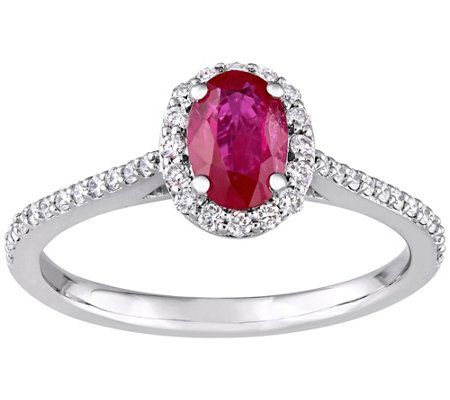 14K Gold 0.85 cttw Oval Ruby & Diamond Halo Ring