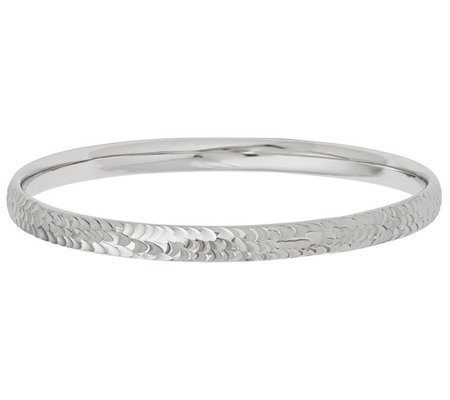 Italian Silver Diamond Cut Bangle, 7.8g