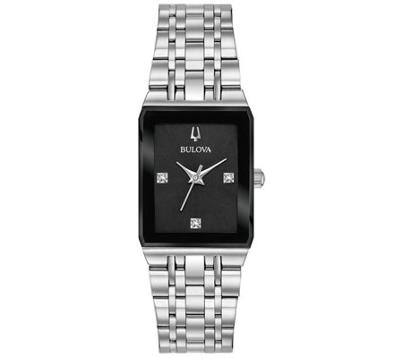 Bulova Women S Quadra Stainless Steel Diamond Watch