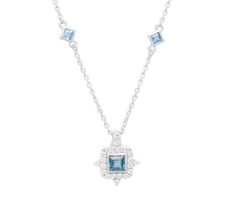 Judith Ripka Sterling Diamonique & London BlueTopaz Necklace