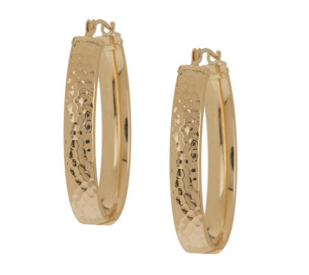 EternaGold Oval Hammered Hoop Earrings 14K Gold