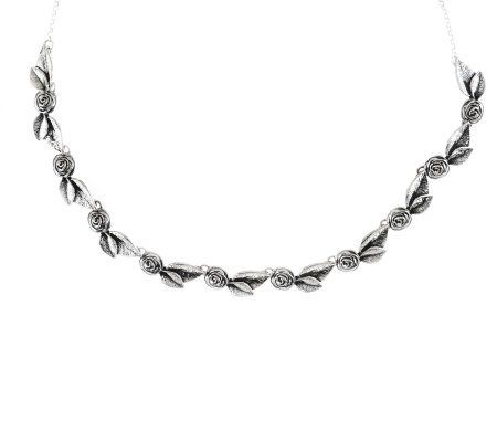 "Sterling Silver Rose & Leaf 20"" Necklace, 23.0g, by Or Paz"