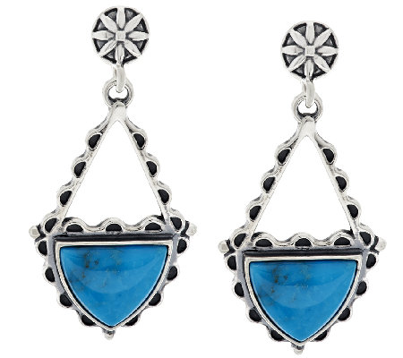 American West Triangular Shape Turquoise Sterling Drop Earrings