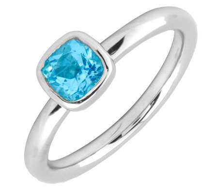 Simply Stacks Sterling Cushion Cut Blue TopazRing