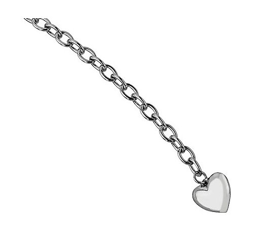 "Steel by Design 8-1/2"" Polished Link w / HeartBracelet"