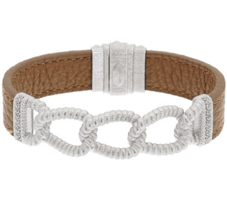Judith Ripka Sterling Verona Curb Link & Beige Leather Bracelet