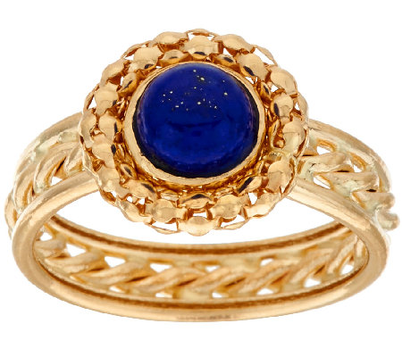 14K Gold Woven Border Lapis Ring with Rope Inlay Band