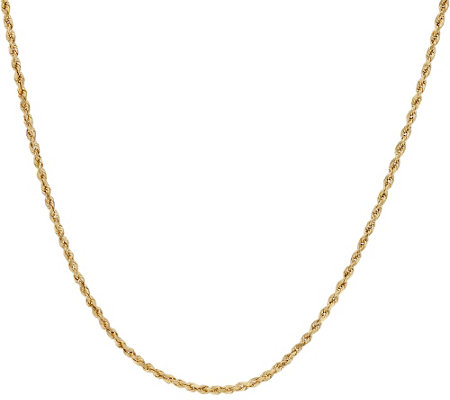 "14K Gold 30"" Diamond Cut Rope Chain Necklace 4 3g Page 1 — QVC"