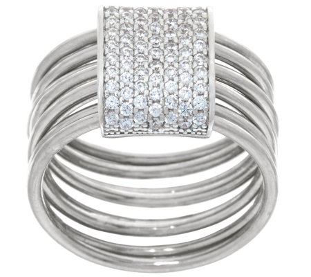 Italian Silver Sterling Pave' Crystal Layered Ring