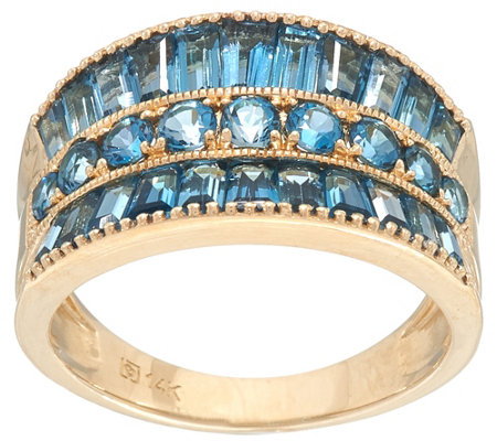 """As Is"" Round & Baguette  Semi- Precious Gemstone Ring, 14K, 2.5cttw"