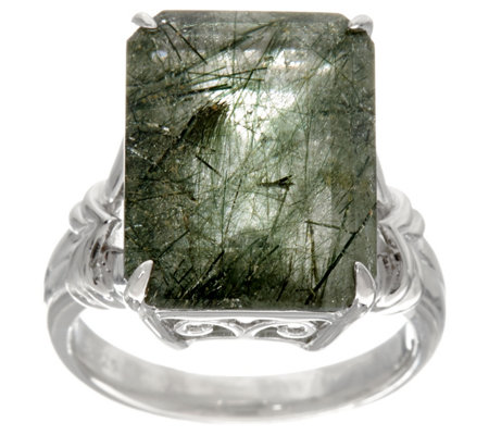 Emerald Cut Rutilated Quartz Sterling Silver Ring, 9.00 ct