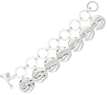 RLM White Bronze Textured Circle Charm Bracelet