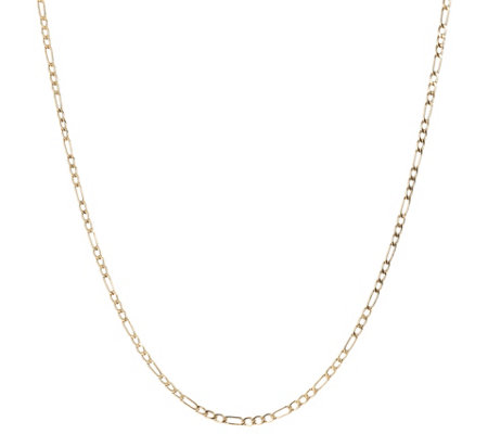 "16"" Polished Figaro Necklace, 14K Gold 1.8g"