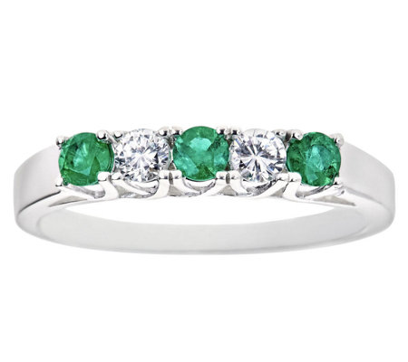 Emerald and Diamond Alternating Five-Stone BandRing, 14K