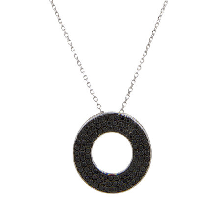 Italian Silver Sterling Black Spinel Circle Pendant w/Chain