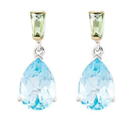 5.25 ct tw Sterling & 14K Blue Topaz and Peridot Drop Earring