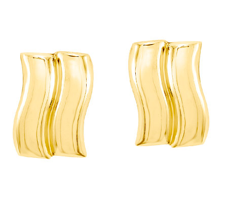 Double-Wave Post Earrings, 14K Gold