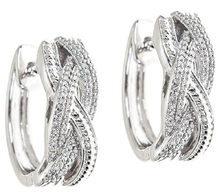 Braided Diamond Hoop Earrings, 1/4cttw, Sterling, by Affinity