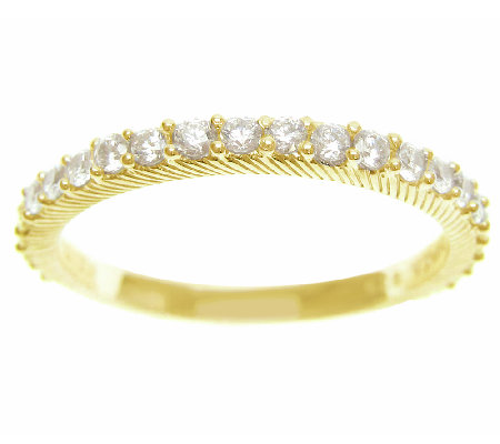 Judith Ripka Sterling 14K-Clad 4/10cttw Diamonique Band Ring
