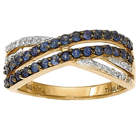 Sapphire & Diamond Accent Crossover Band Ring,14K